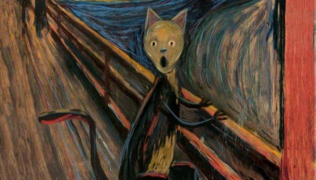 На выставке вместо известных картин были изображены коты