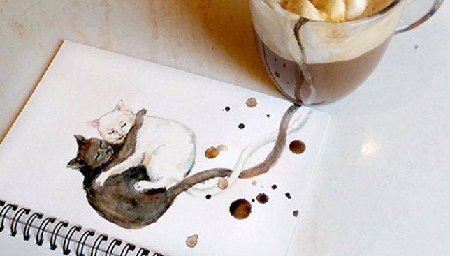 Ко дню кофе: художница рисует котов с помощью этого напитка