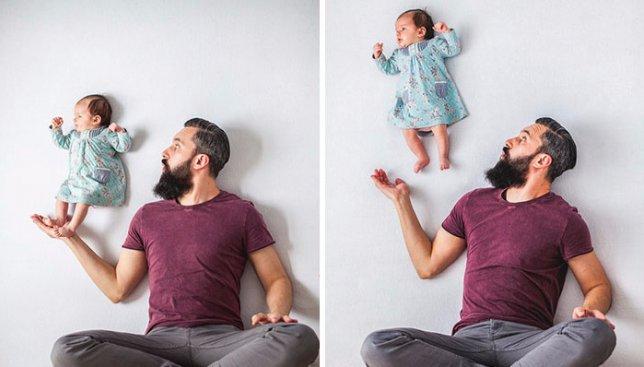 9 необычных фотографий папы и дочки: без использования фотошопа