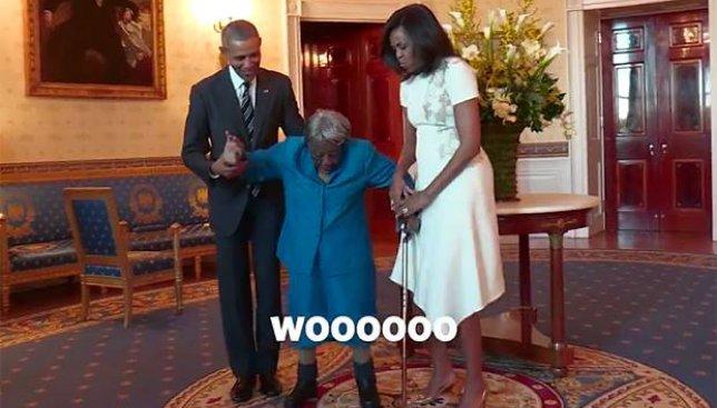 106-летняя женщина пришла в восторг от Белого дома и станцевала с Обамой