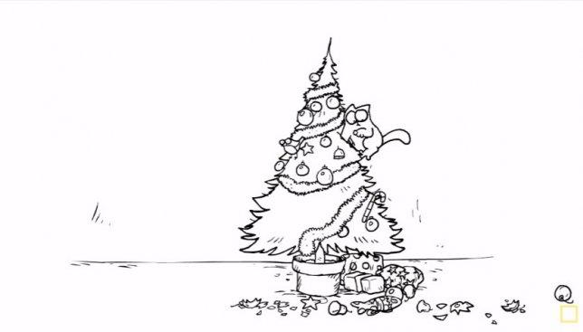 Вечная битва: котик против новогодней елки