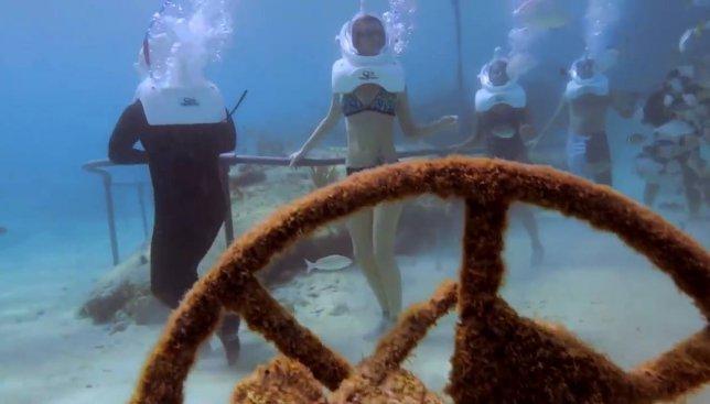 Как проводят экскурсии в подводном музее Шкарет в Мексике (Видео)